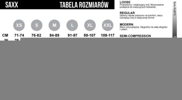 majtki męskie saxx rodzaje i tabela rozmiarów